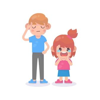 아빠와 함께 슬픈 우는 어린 아이 소녀
