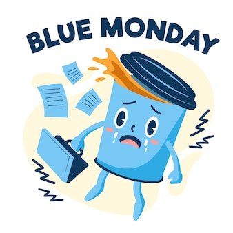 Sad cup of coffee on blue monday