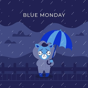 Sad cute animal on blue monday