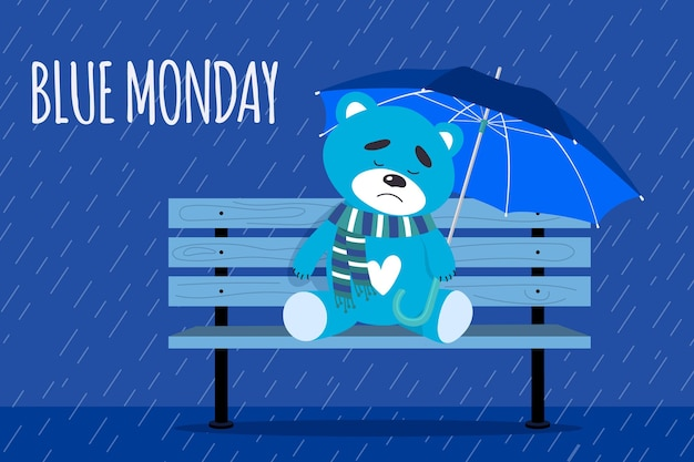 Sad cute bear on blue monday