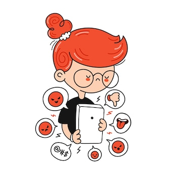 Sad cute boy getting bullied. cyberbullying signs in smartphone. vector cartoon character flat line illustration. isolated on white background. bullying at internet, cyberbullying, media concept