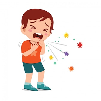 Sad cute little kid boy sneeze because of flu