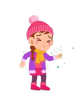 Sad cute little kid cough and wear jacket in winter season