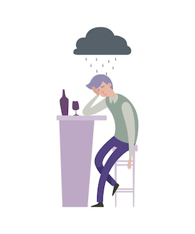 悲しい落ち込んだ男のイラスト。バーで飲み物と灰色の雨の雲と一人の男