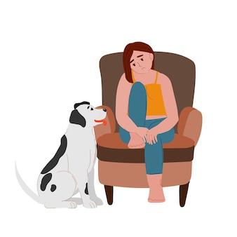 犬と悲しい落ち込んで疲れた女性子犬のメンタルヘルスの自己愛と座っている悲しい女の子退屈