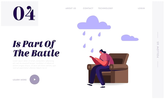 Sad and desperate female character landing page template