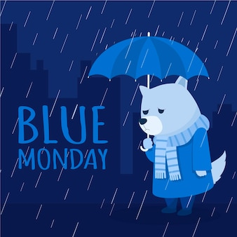 Sad dog on blue monday