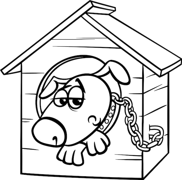 Sad dog in kennel coloring page Vector | Premium Download