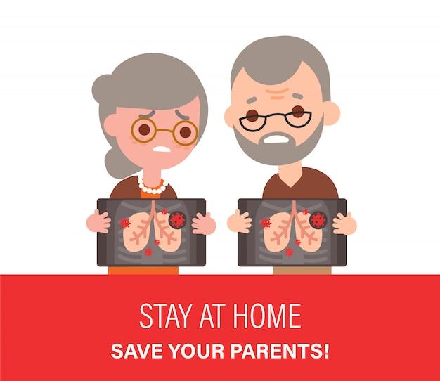 悲しい高齢者夫婦が陽性のcovid-2019肺x線検査結果を保持フラットなデザインスタイルの漫画のイラスト。