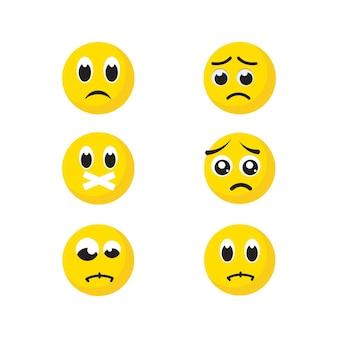 悲しい感情ベクトルアイコンデザインイラストテンプレート