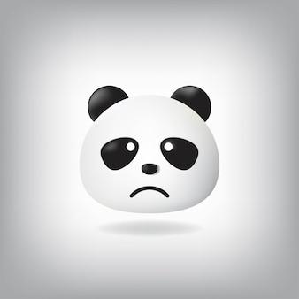Sad face panda emoticon