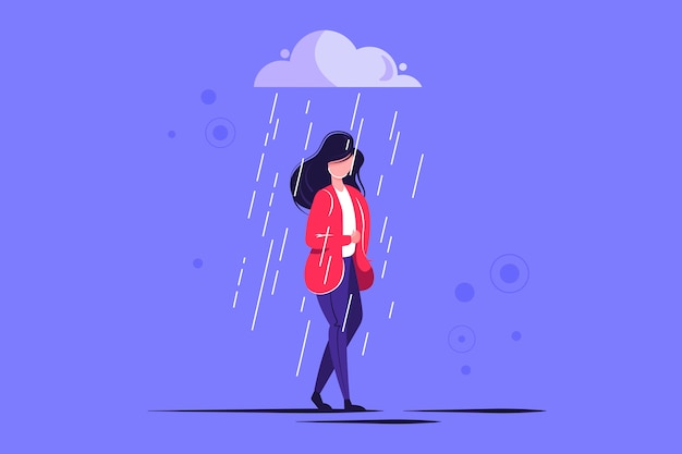 Sad female character standing under the rain