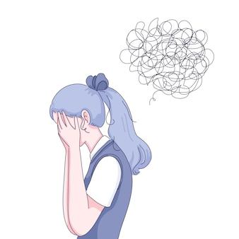 Грустная девушка иллюстрации шаржа