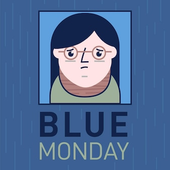 Sad girl character on blue monday event