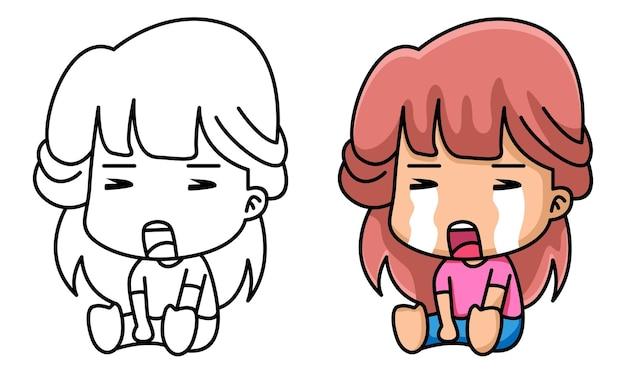 Sad girl coloring page for kids