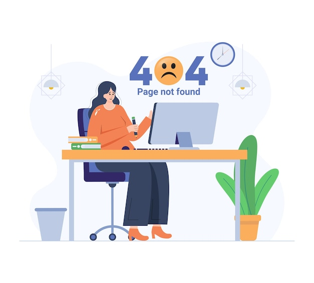 Sad girl due to empty state 404 page illustration