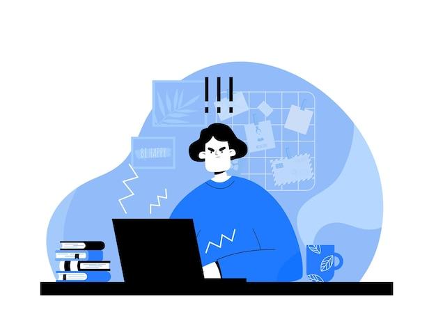 Грустная девушка смотрит на экран компьютера