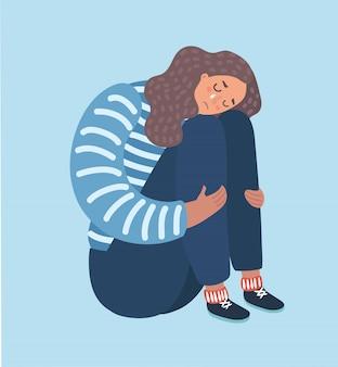 슬픈 소녀 앉아서 불행하게 그녀의 무릎을 껴안고. 평면 스타일 만화 일러스트 레이 션 흰색 배경에 고립.