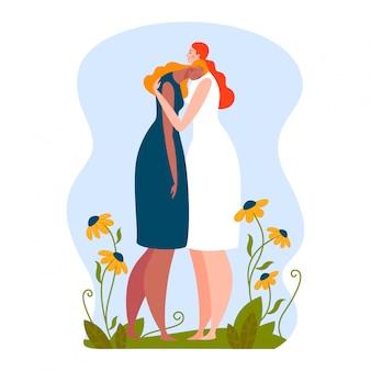 一緒に悲しい女の子、手、抱擁、友情、白、デザイン、フラットスタイルの図で隔離、慰めの抱擁