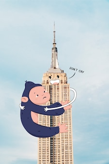 Sad gorilla holding on to the empire state building