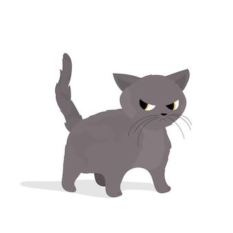 슬픈 회색 고양이. 스티커 및 엽서에 적합합니다. 외딴. 벡터.