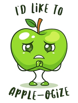 Sad green apple fruit