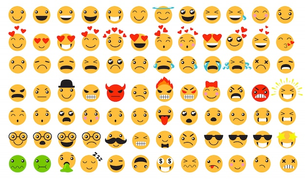 Sad and happy emoticons set