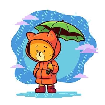 Sad kitty on blue monday