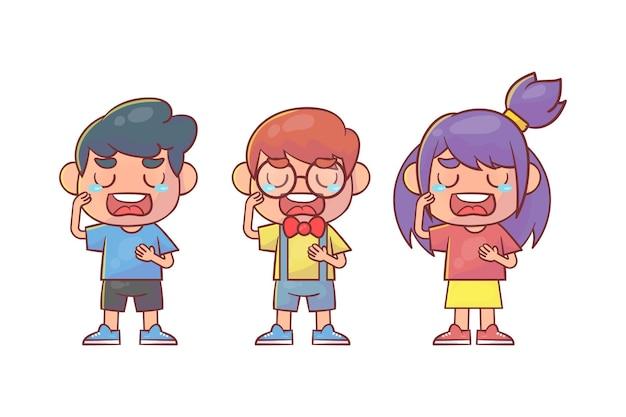 Sad little kid boy and girl cry loud