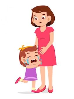 Sad little kid girl cry with mom
