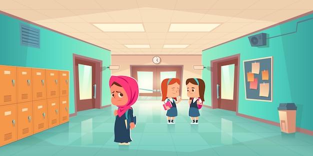 학교 복도에서 슬픈 외로운 무슬림 소녀