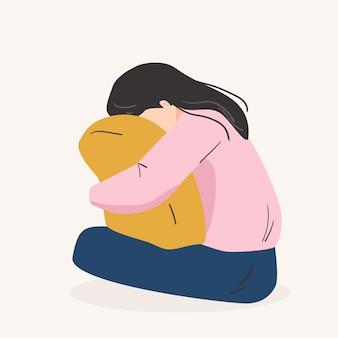 슬픈 외로운 여자. 우울한 어린 소녀 포옹 베개입니다. 플랫 만화 스타일의 벡터 일러스트 레이션