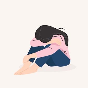 슬픈 외로운 여자. 우울한 어린 소녀. 플랫 만화 스타일의 벡터 일러스트 레이션