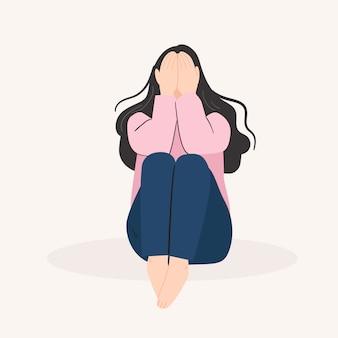 Грустная одинокая женщина. подавленная молодая девушка. векторная иллюстрация в плоском мультяшном стиле