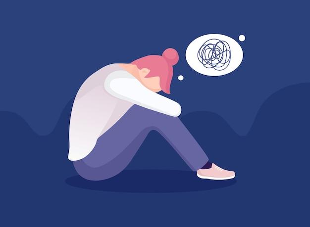 Грустная одинокая женщина в депрессии. молодая несчастная девушка сидит и обнимает колени. подавленный подросток