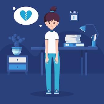Грустная одинокая женщина в депрессии. молодая несчастная девушка с разбитым сердцем. подавленный подросток