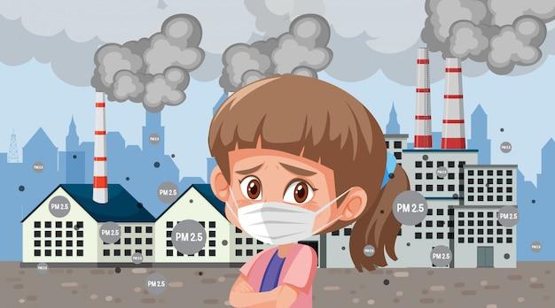 工場の建物の前でマスクを着て悲しい探している女の子