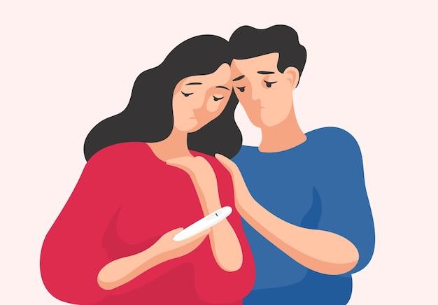 슬픈 남자와 여자가 함께 서서 한 줄을 보여주는 임신 테스트를 보고 있습니다. 불임 부부, 다산 문제, 임신 문제. 평면 만화 스타일의 다채로운 벡터 일러스트 레이 션.