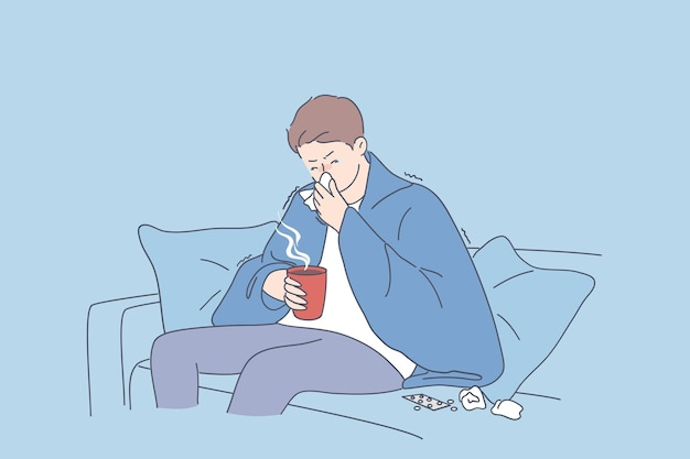 Sad man cartoon character sitting on sofa in warm blanket with hot drink and feeling ill sick and flu sneezing