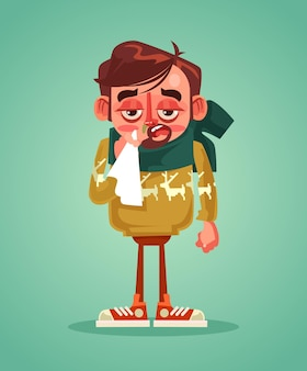Sad man character have cold flu. vector flat cartoon illustration
