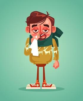 슬픈 남자 캐릭터는 감기 독감에 걸립니다. 벡터 평면 만화 일러스트 레이션