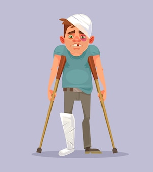 Sad man character with broken leg, flat cartoon illustration