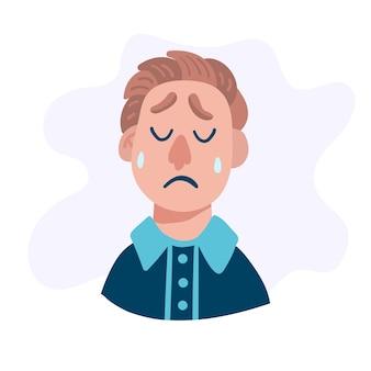 Печальная голова человека. взрослый мультипликационный персонаж.