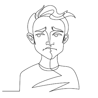 Sad man portrait one line art. unhappy male facial expression. hand drawn linear man silhouette.
