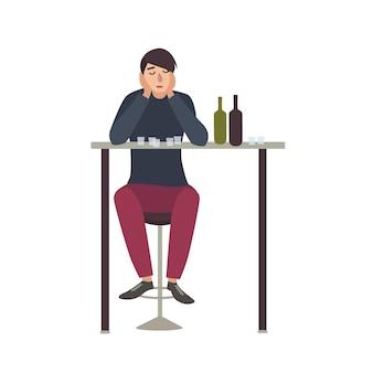 눈을 감고 술집에 앉아서 총을 마시는 슬픈 남자. 흰색 배경에 고립 된 알코올 중독 남성 만화 캐릭터. 알코올 중독 또는 딥소마니아. 플랫 다채로운 벡터 일러스트 레이 션.