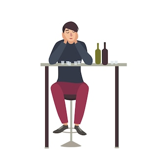 Sad man with closed eyes sitting at bar and drinking shots. male cartoon character with alcohol addiction isolated on white background. alcoholic or dipsomaniac. flat colorful vector illustration.