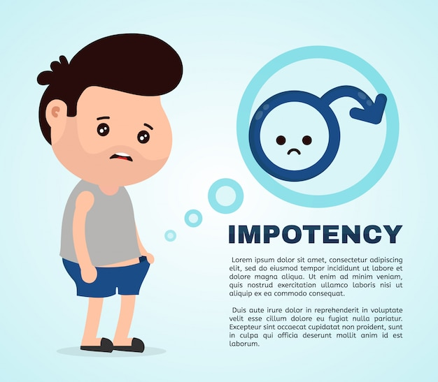 Sad man with erectile dysfunction looks into the panties.flat cartoon character illustration . isolated on white background.intimate problem concept. impotency infographic