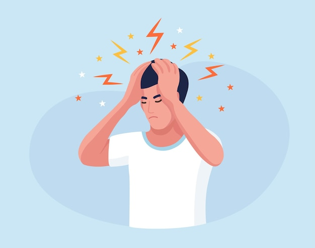 Sad man with strong headache, tired and exhausted person holding head in hands. migraine, chronic fatigue and nervous tension,  depression, stress or flu symptom