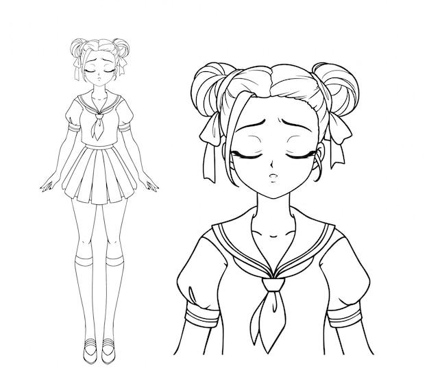 日本の学校の制服を着た悲しい漫画少女と2つのおさげ髪。手描きのベクトル図です。分離されました。