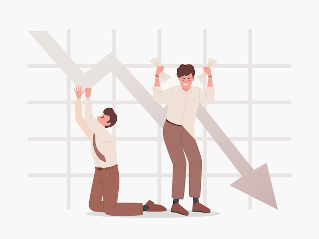 Sad men on the background of falling graph vector flat